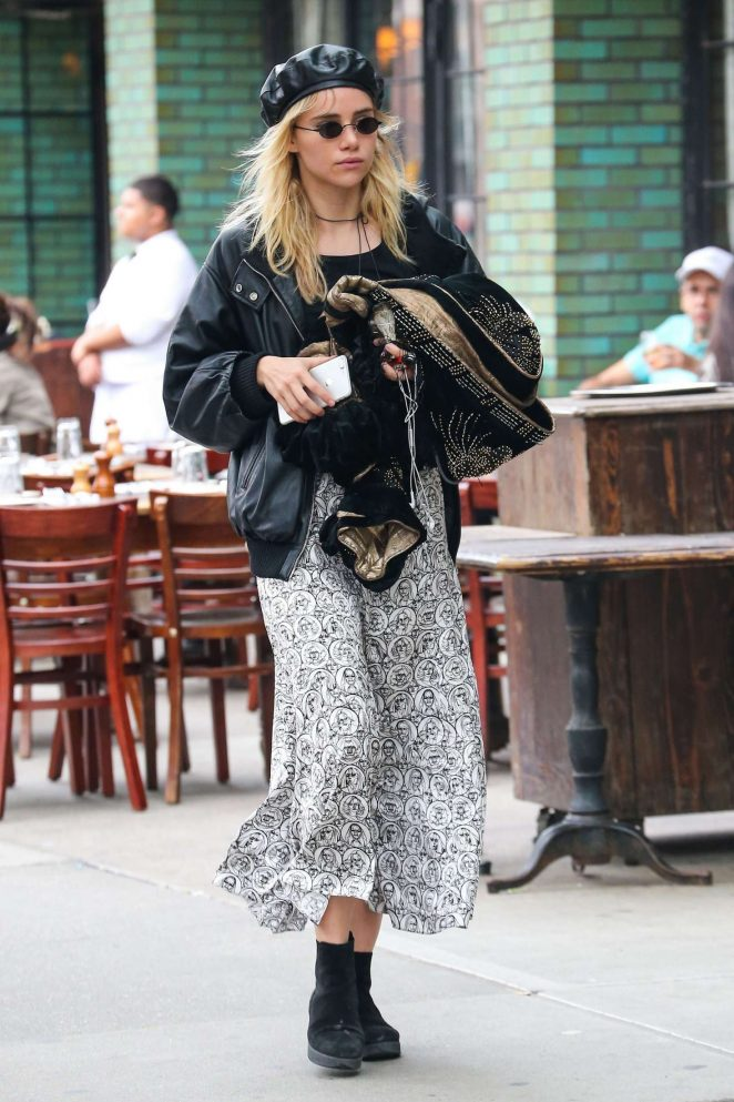 Suki Waterhouse in Long Skirt out in New York