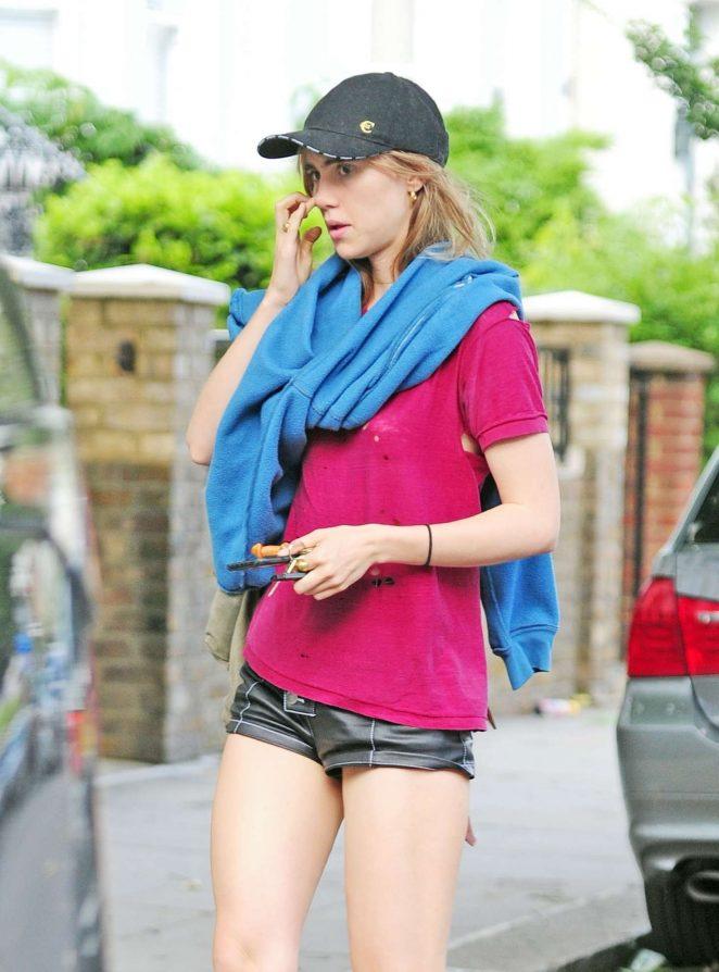 Suki Waterhouse in Short Shorts out in London