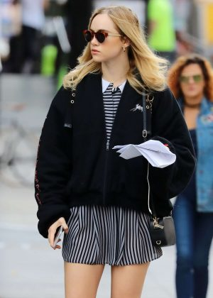 Suki Waterhouse in Short Skirt out in New York