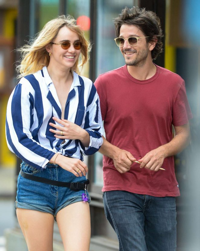 Suki Waterhouse in Shorts with Diego Luna out in Manhattan