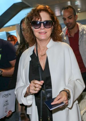 Susan Sarandon Arriving at Airport in Nice