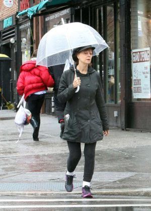 Susan Sarandon on the rain out in New York City