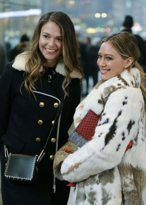 Sutton Foster and Hilary Duff on the set of 'Younger' in New York City
