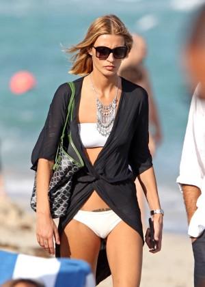 Sveva Alviti in White Bikini on Miami Beach
