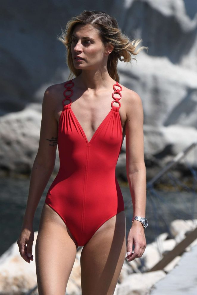 Sveva Alviti in Red Swimsuit on the beach in Ichia
