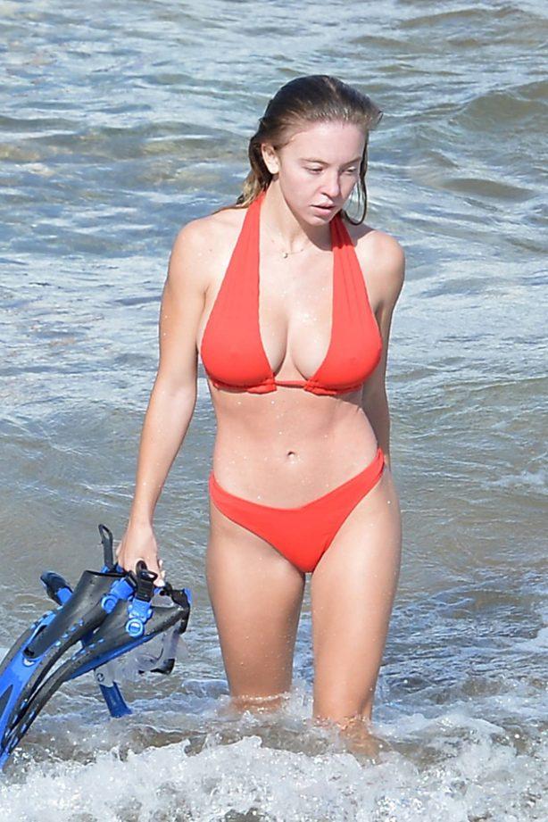 Sydney Sweeney - In red bikini on the beach in Hawaii