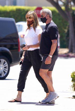 Sylvester Stallone and Jennifer Flavin - Take a walk to a Subway in Malibu