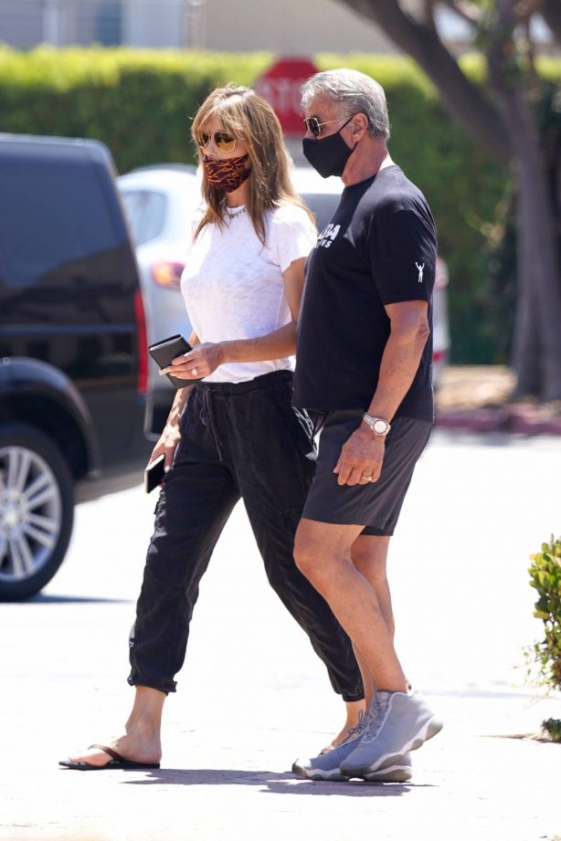 Sylvester Stallone and Jennifer Flavin - Take a walk to a Subway in Malibu