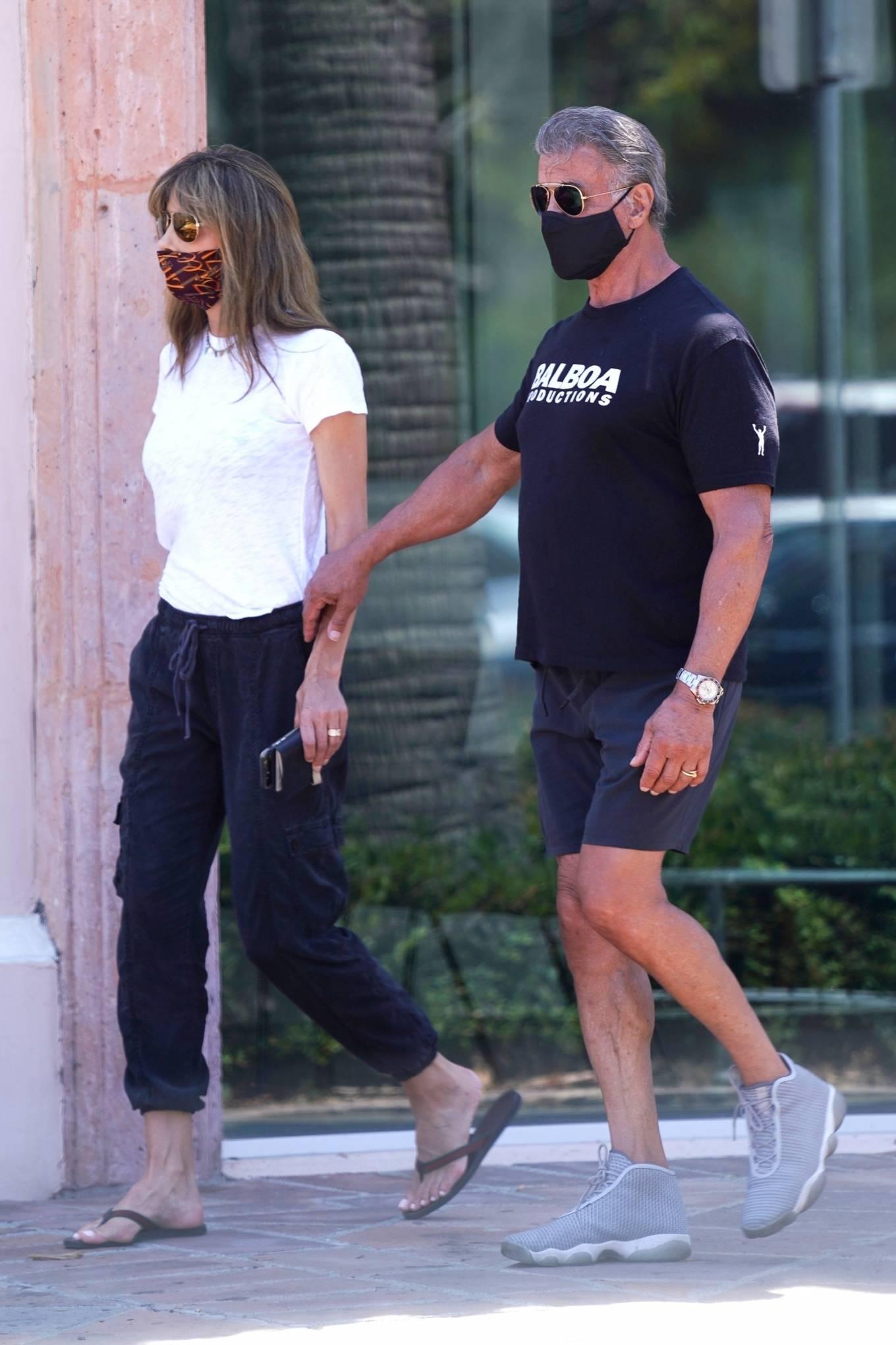 Jennifer Flavin 2020 : Sylvester Stallone and Jennifer Flavin – Take a walk to a Subway in Malibu-11
