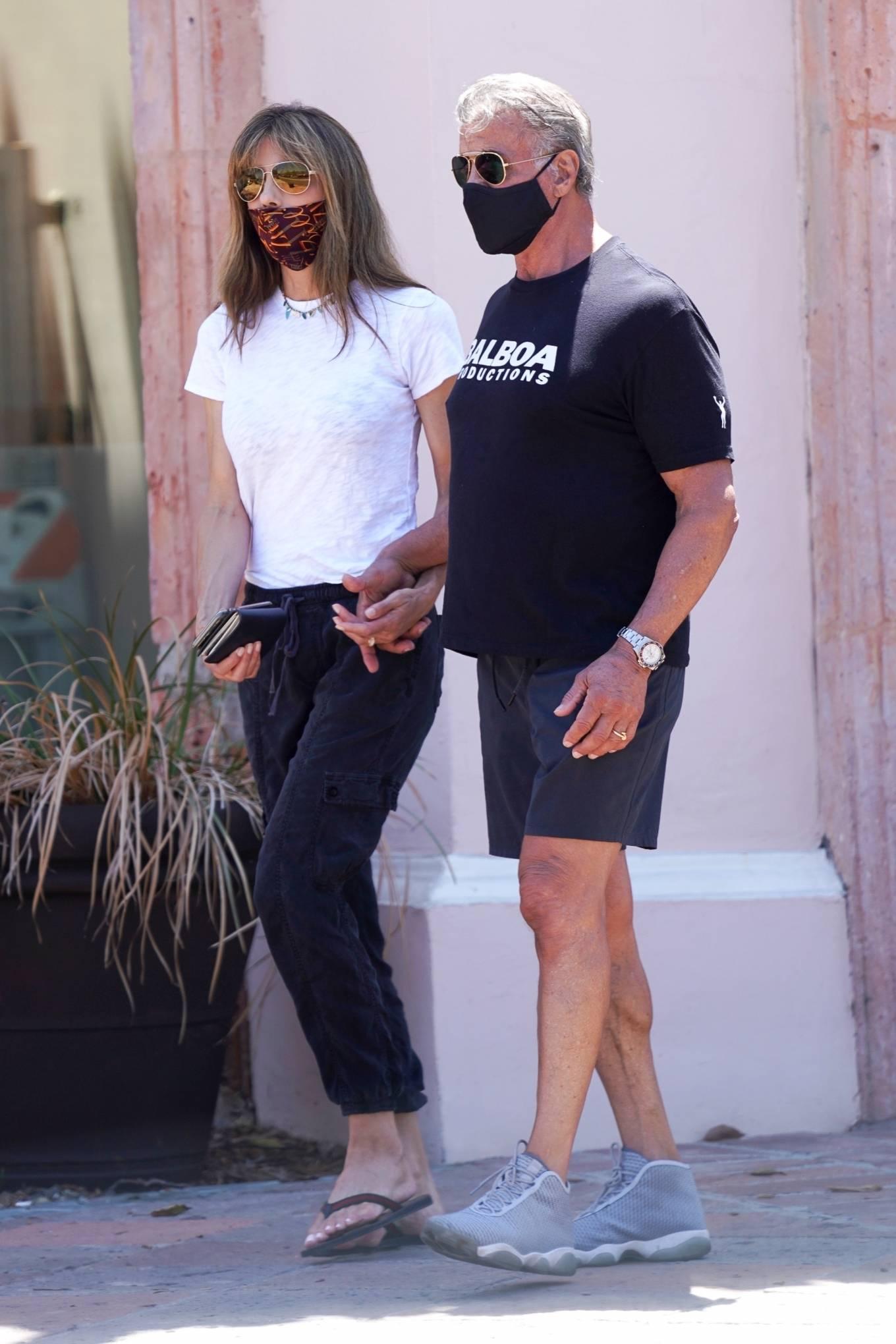 Jennifer Flavin 2020 : Sylvester Stallone and Jennifer Flavin – Take a walk to a Subway in Malibu-19