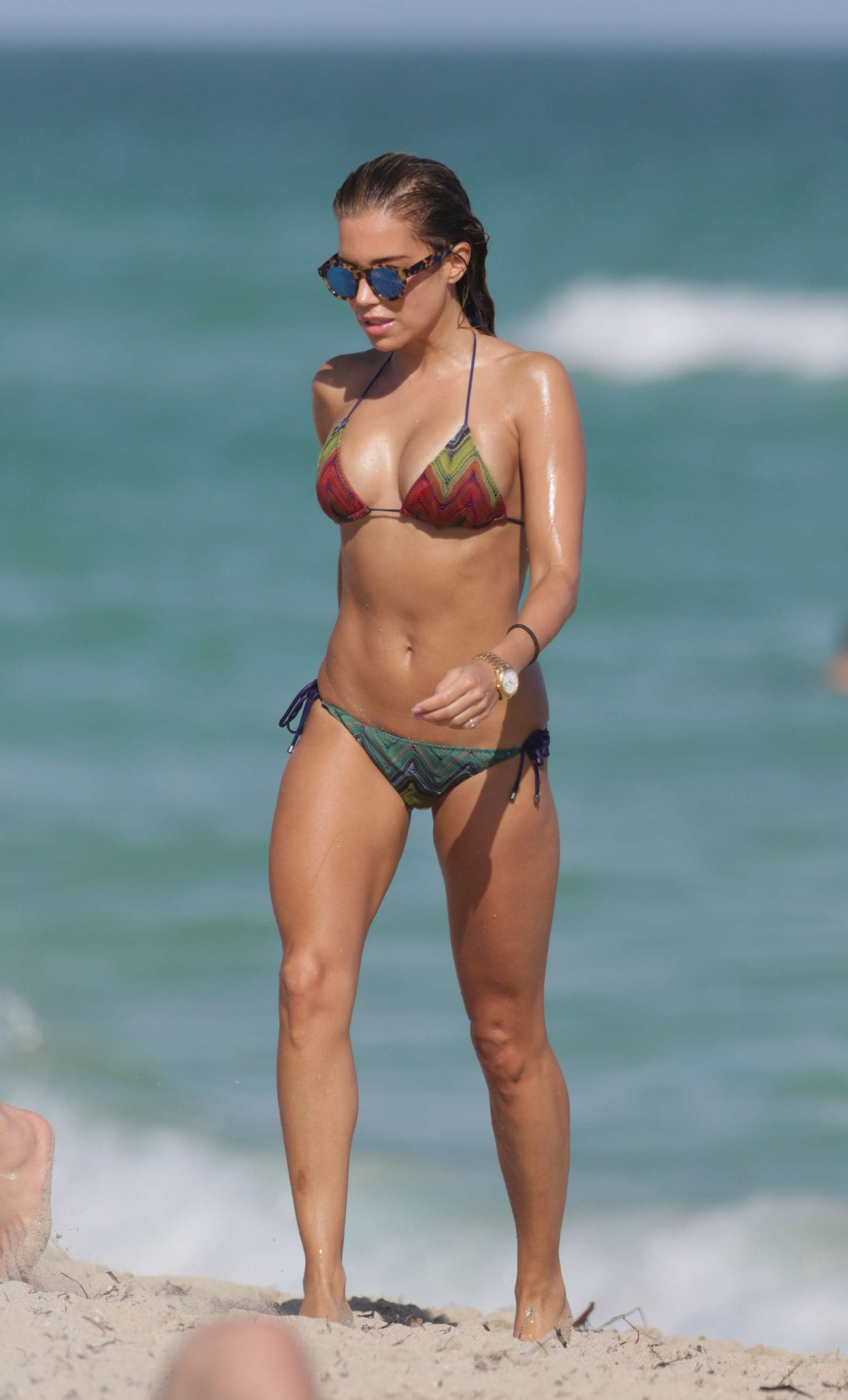 Sylvie Meis in Black Bikini on the beach in Miami Pic 32 of 35