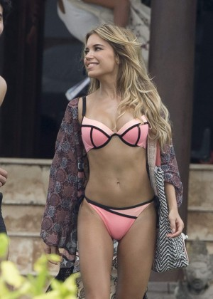 Sylvie Meis in Bikini -  Filming Swimwear Collection Commercial in Bali