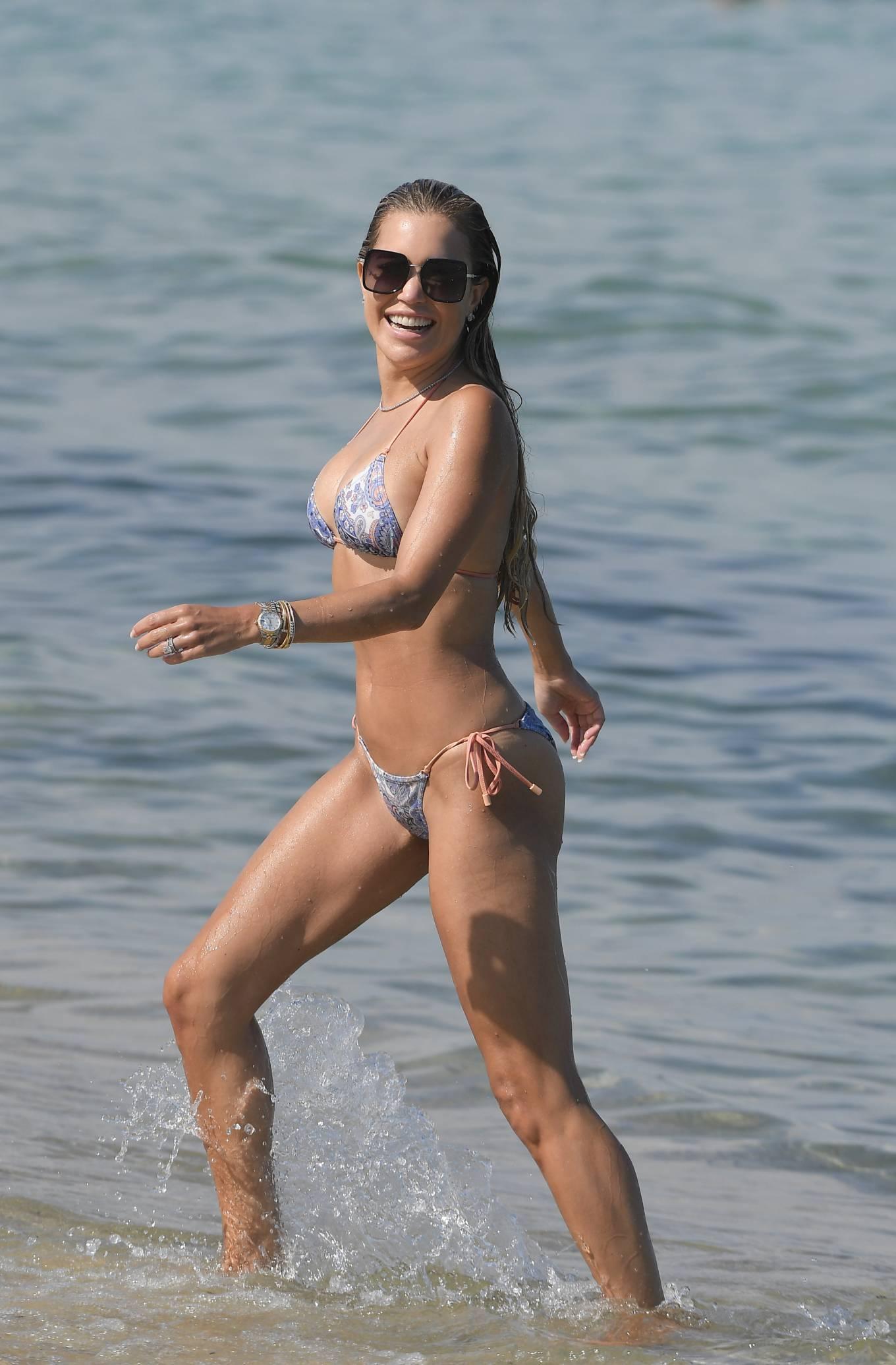 Sylvie Meis 2021 : Sylvie Meis – In a bikini with her husband Niclas Castello on the beach La Réserve in Ramatuelle-04