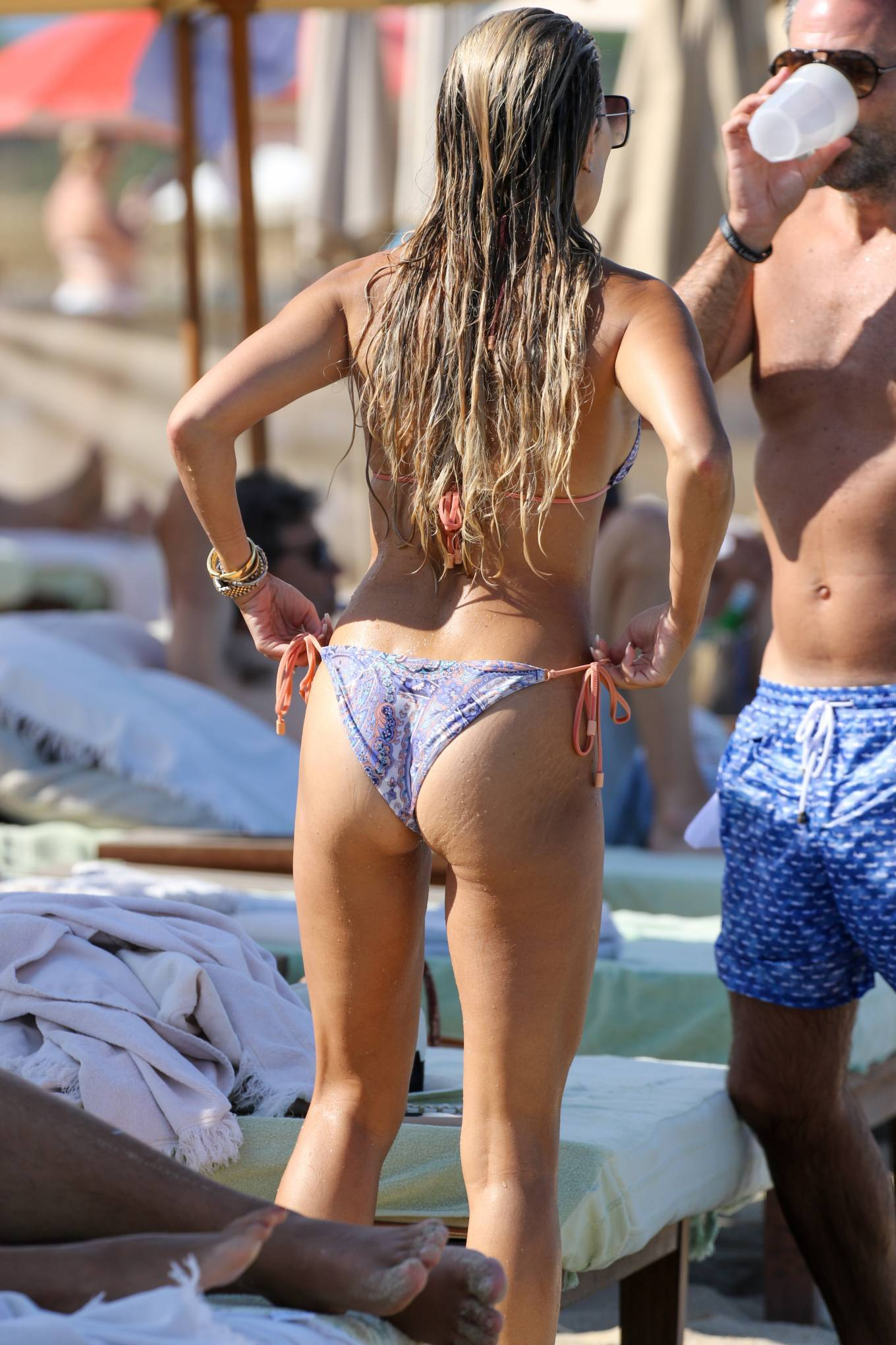 Sylvie Meis 2021 : Sylvie Meis – In a bikini with her husband Niclas Castello on the beach La Réserve in Ramatuelle-21