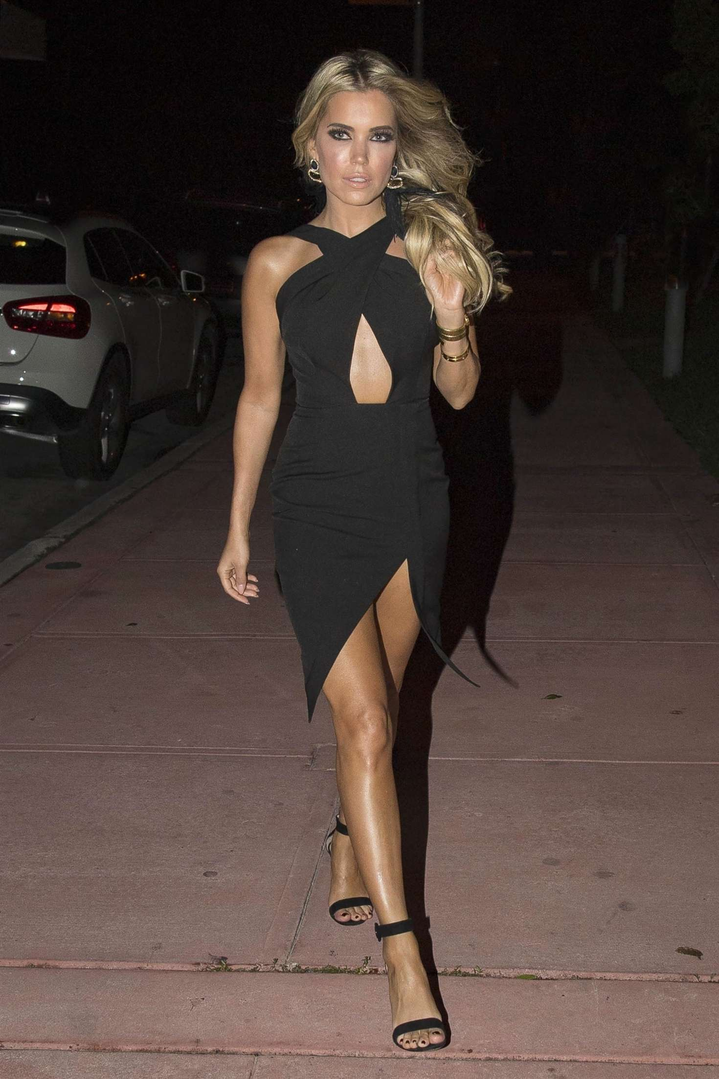 Sylvie Meis In A Little Black Dress Out In Miami Indian