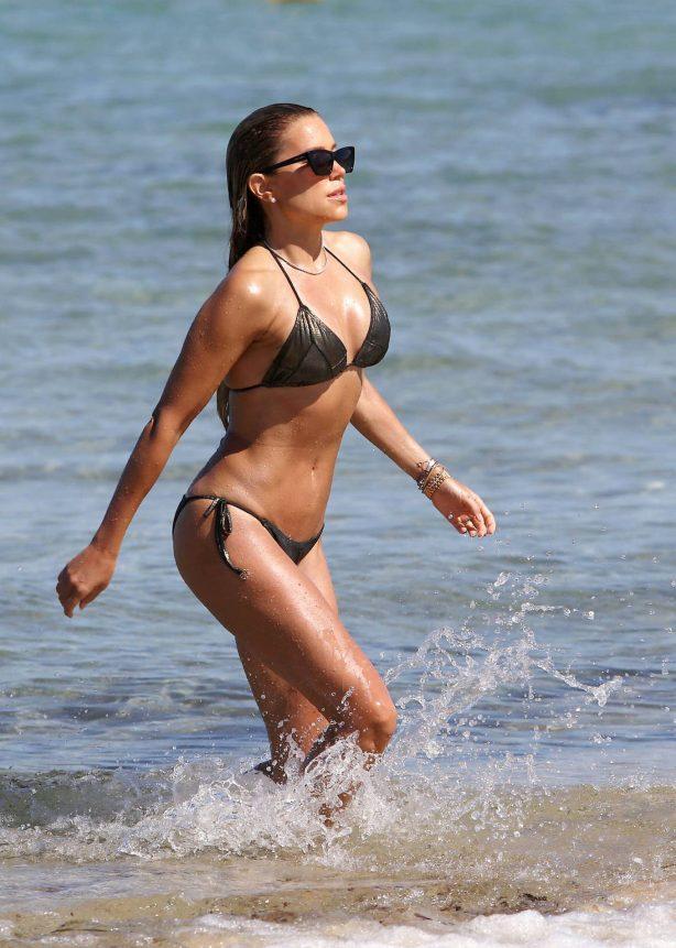 Sylvie Meis in Bikini on the beach in Saint Tropez