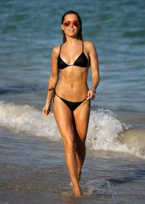 Sylvie Meis in Black Bikini on the beach in Miami Pic 2 of 35