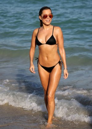 Sylvie Meis in Black Bikini on the beach in Miami Pic 3 of 35