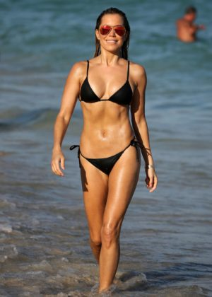 Sylvie Meis in Black Bikini on the beach in Miami Pic 22 of 35