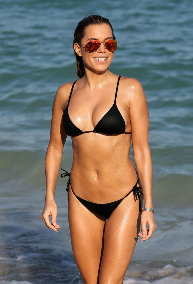 Sylvie Meis in Black Bikini on the beach in Miami