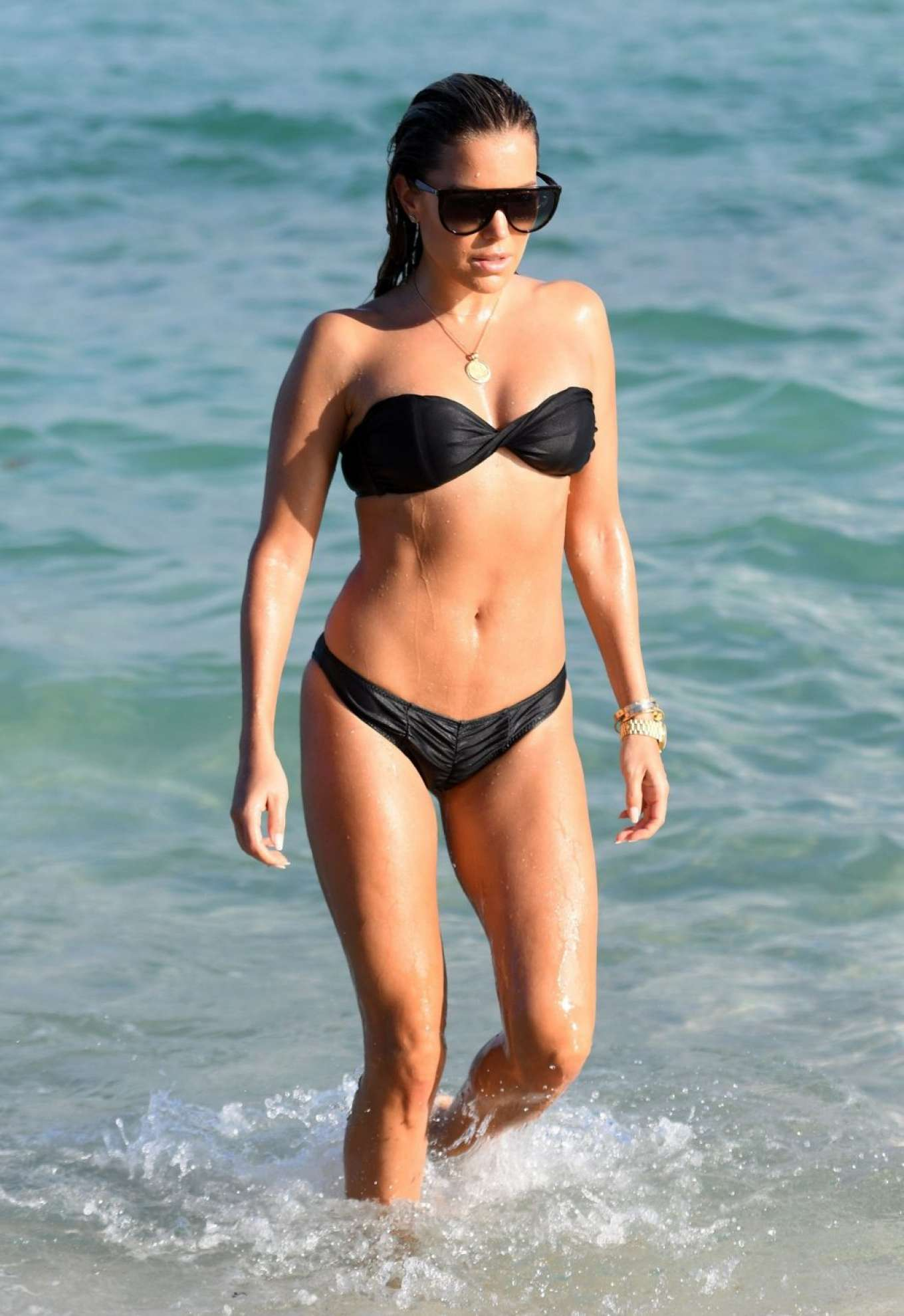 Sylvie Meis in Black Bikini on the beach in Miami
