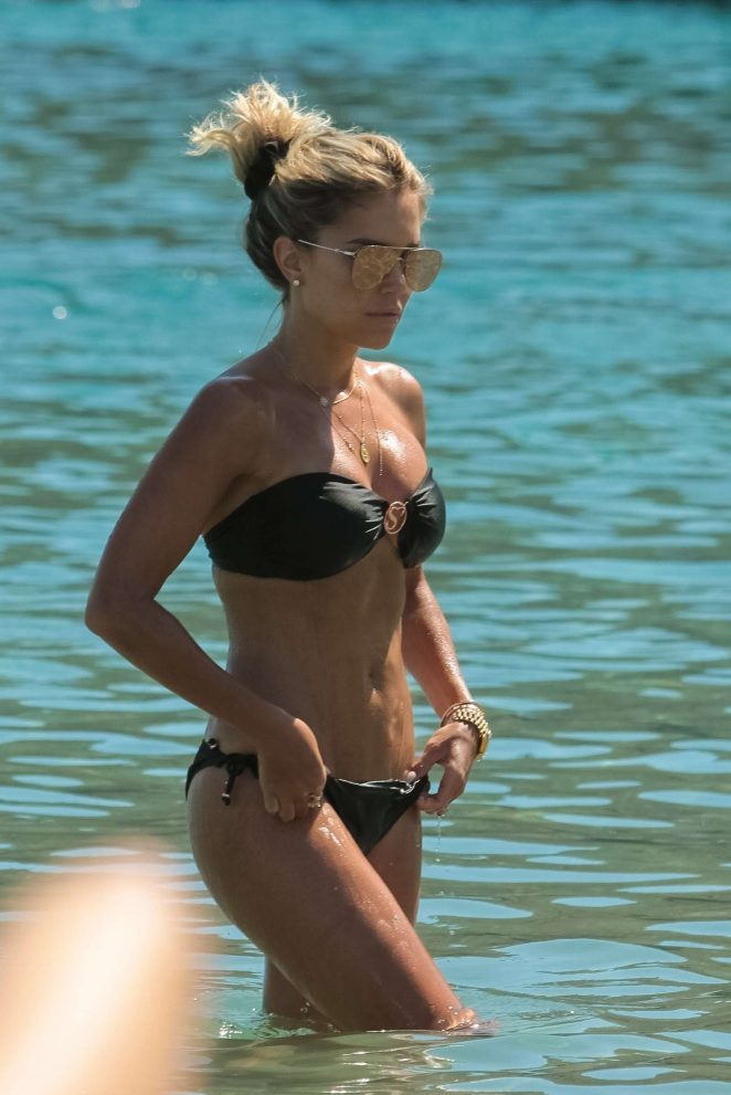 Sylvie Meis in Black Bikini on the beach in Mykonos
