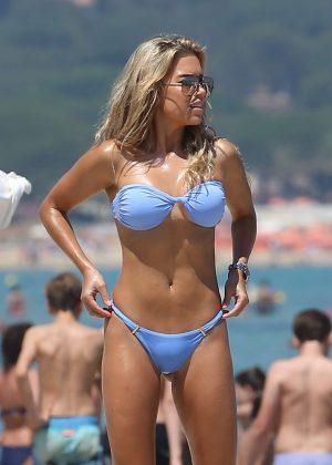 Sylvie Meis in Blue Bikini in Saint Tropez