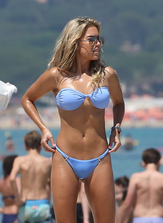 Sylvie Meis in Blue Bikini in Saint Tropez