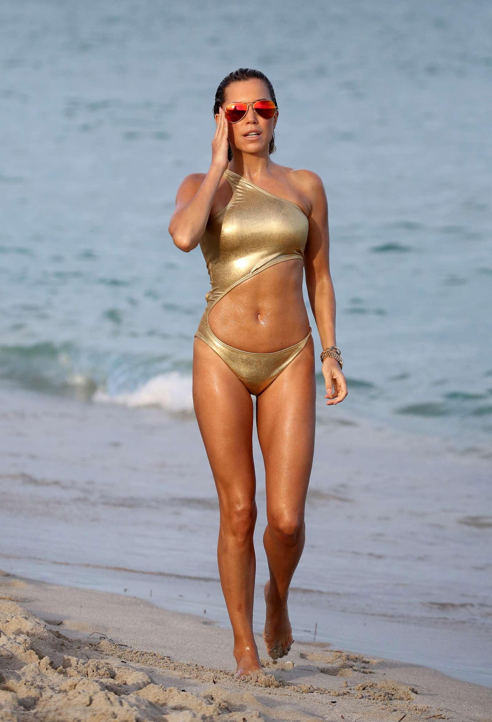 Sylvie Meis In Gold Swimsuit 2018 01 Gotceleb