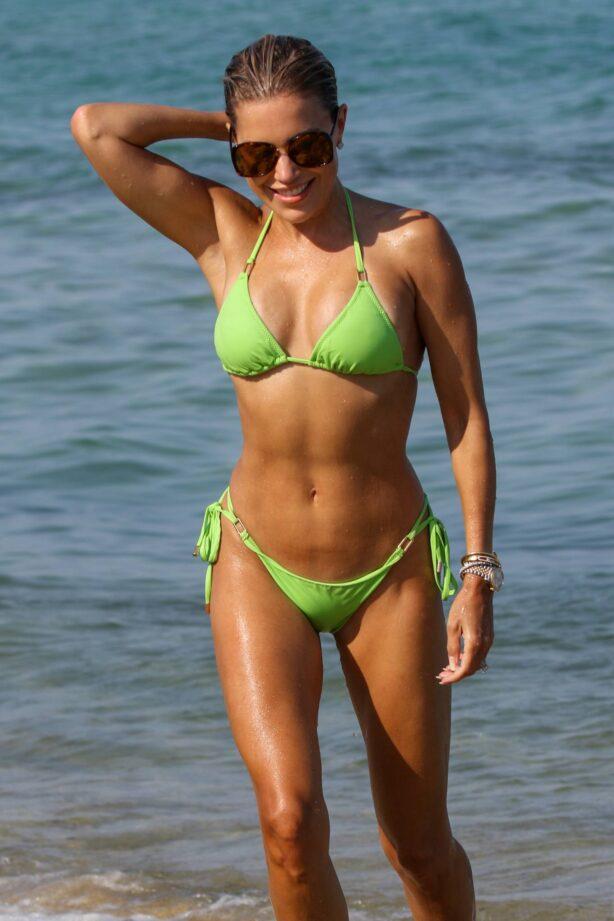 Sylvie Meis - In green bikini at a beach day in Saint Tropez