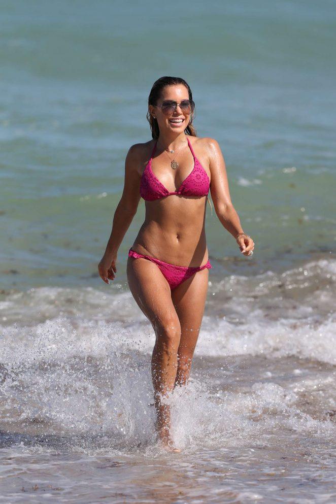 Sylvie Meis in Pink Bikini at the beach in Miami