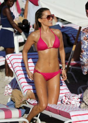 Sylvie Meis in Pink Bikini on the beach in Miami