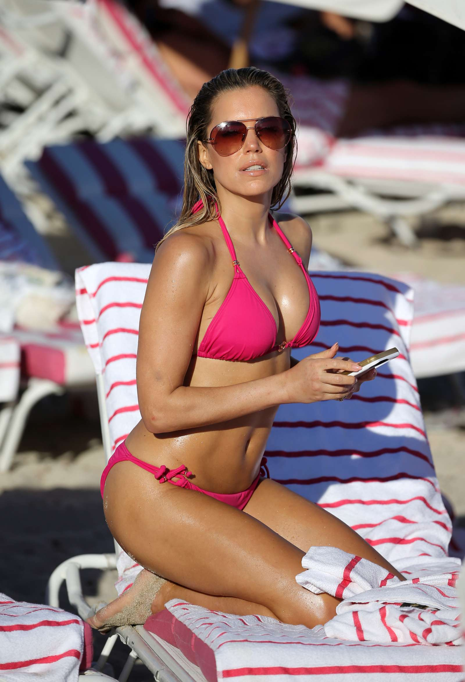 sylvie meis in pink bikini on the beach in miami indian. Black Bedroom Furniture Sets. Home Design Ideas