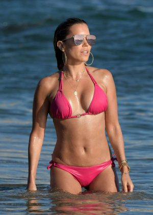 Sylvie Meis in Pink Bikini on the beach in Mykonos