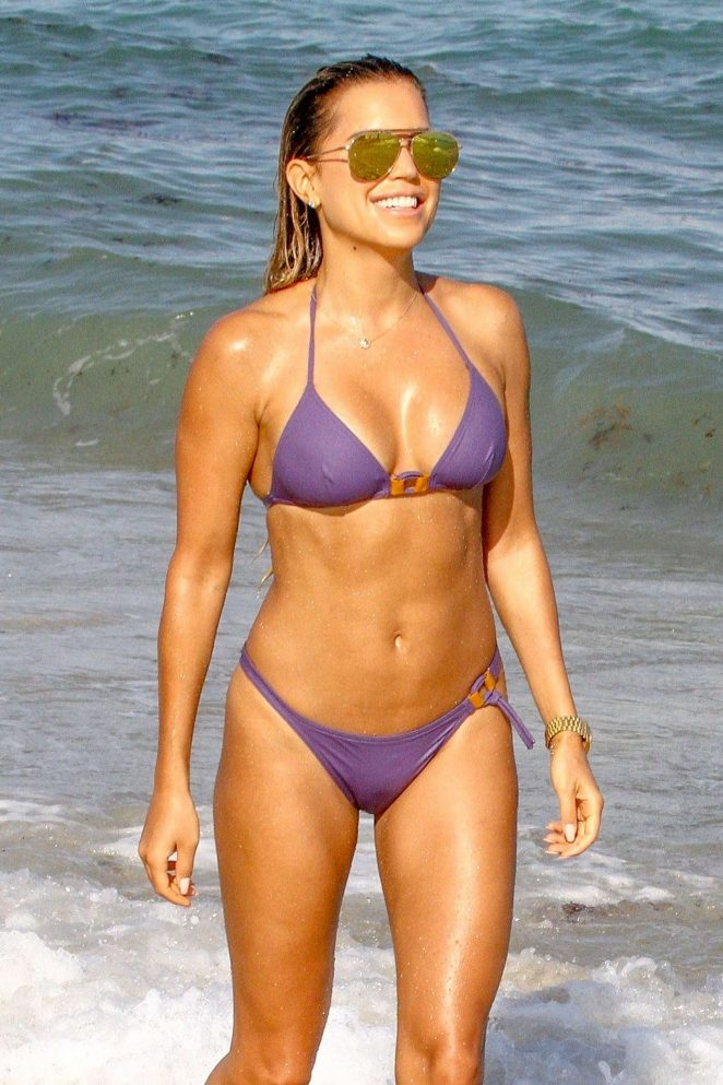 Sylvie Meis in Purple Bikini on Miami Beach
