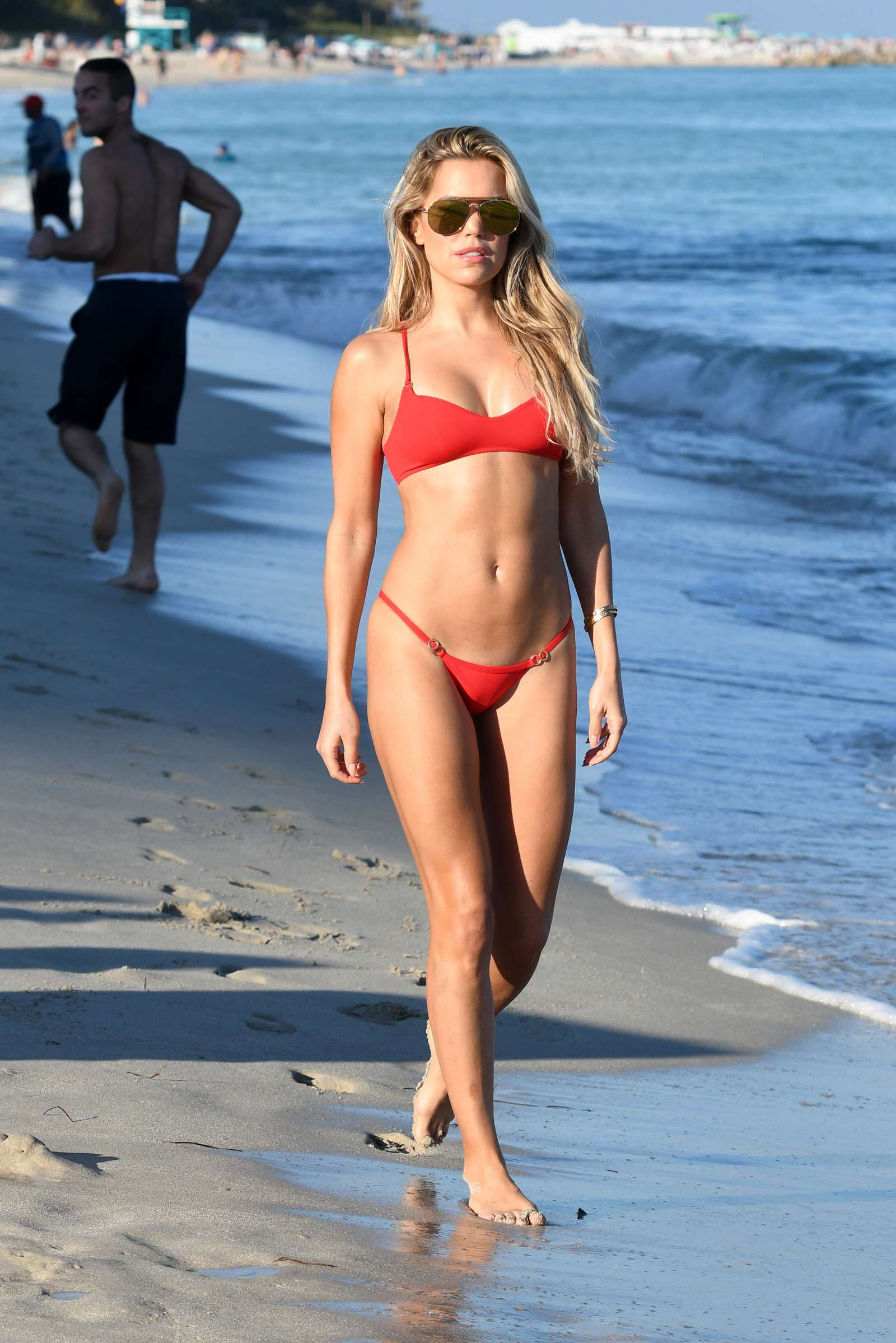sylvie meis in red bikini on the beach in miami indian girls villa celebs beauty fashion. Black Bedroom Furniture Sets. Home Design Ideas