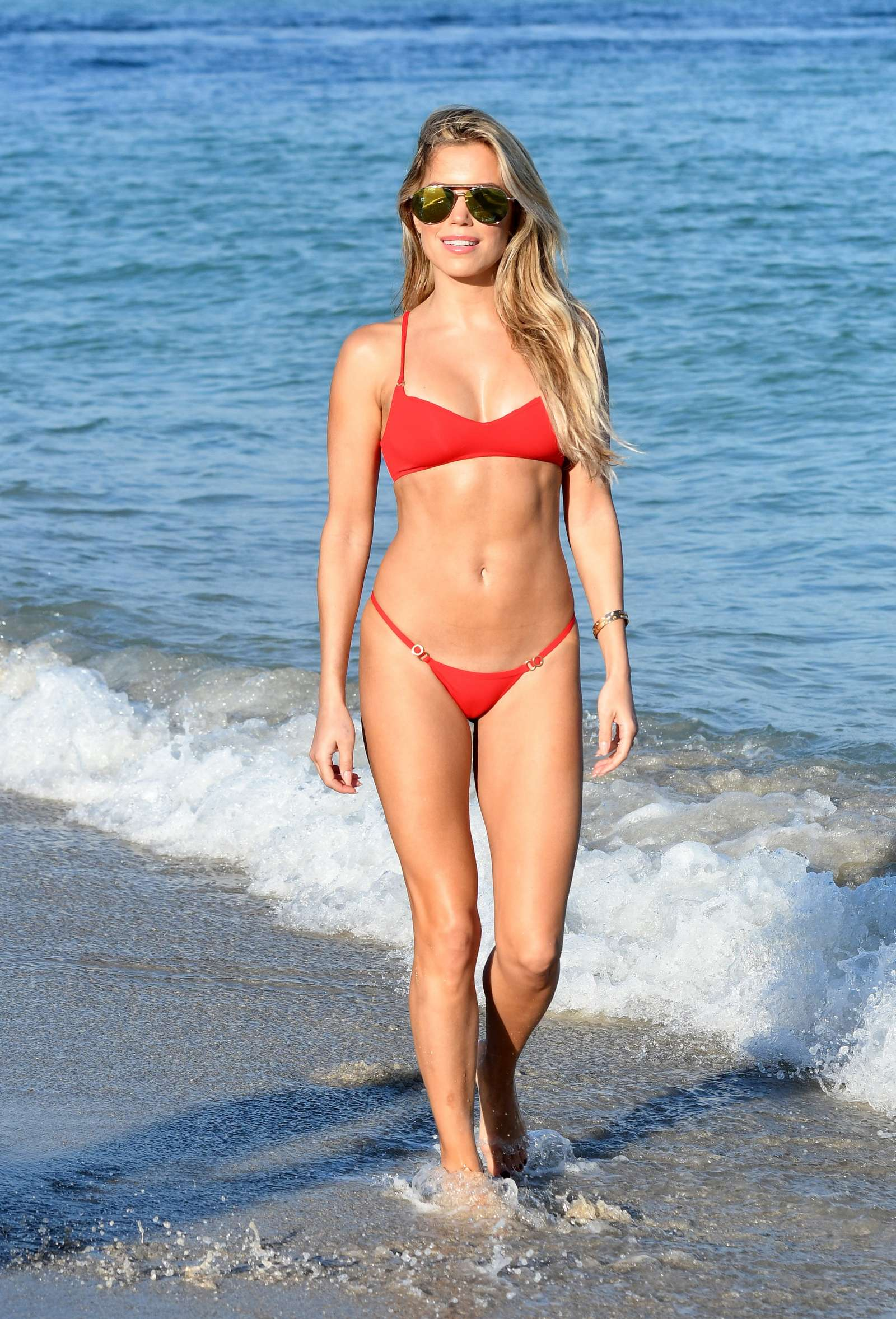 Sylvie Meis In Red Bikini On The Beach In Miami Indian