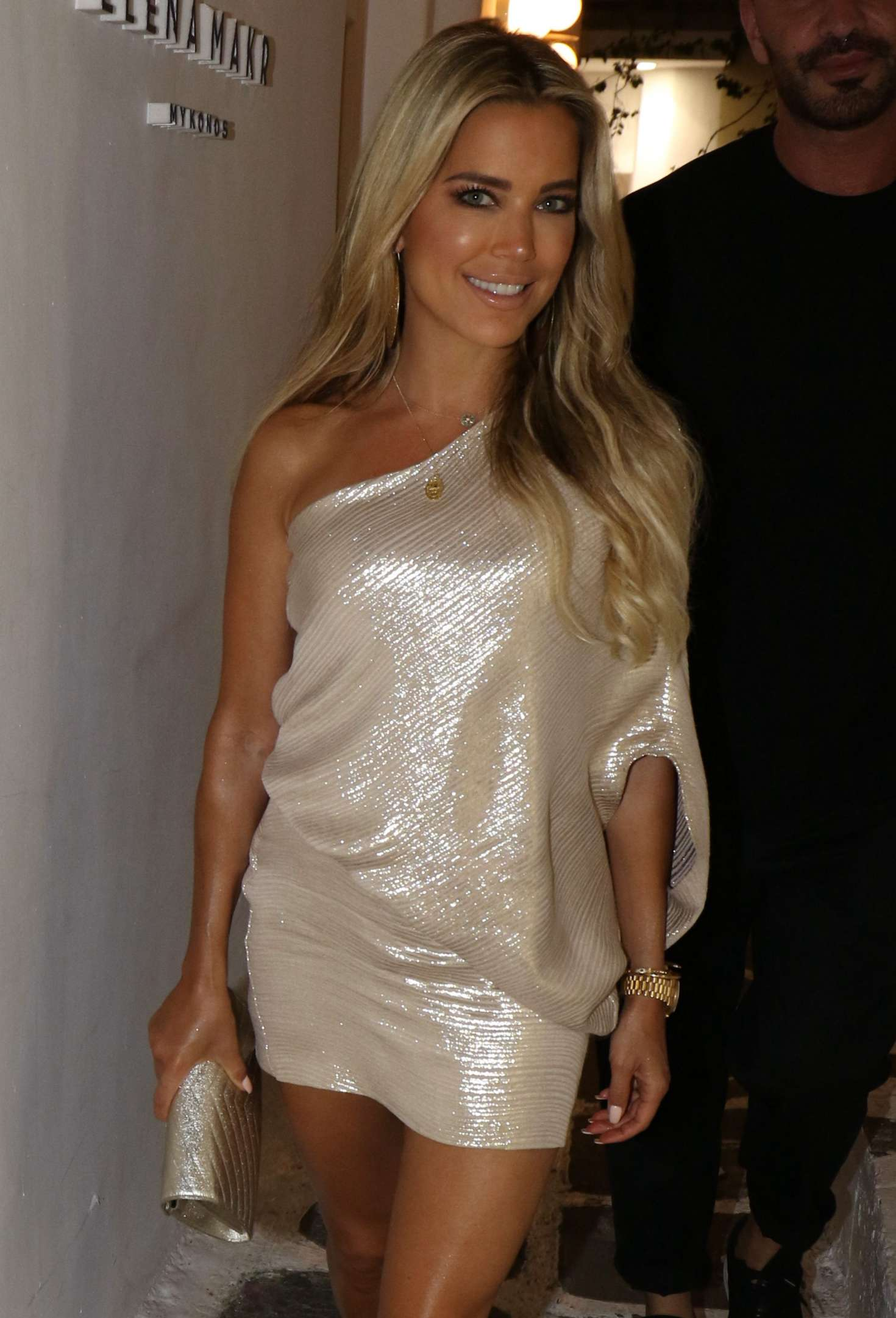 Sylvie Meis in Silverish Dress out in Mykonos