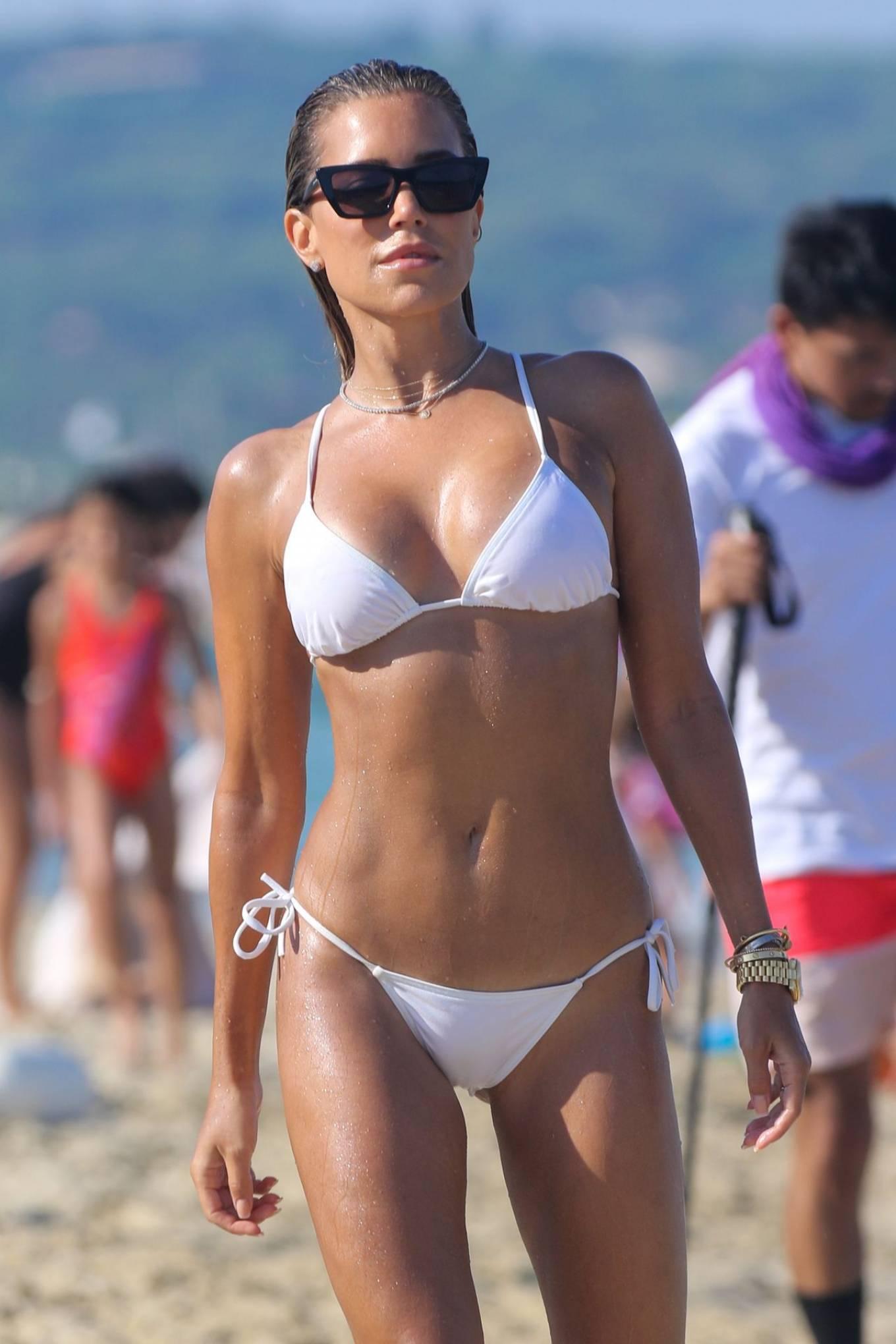 Sylvie Meis - In white bikini on the beach in Saint Tropez