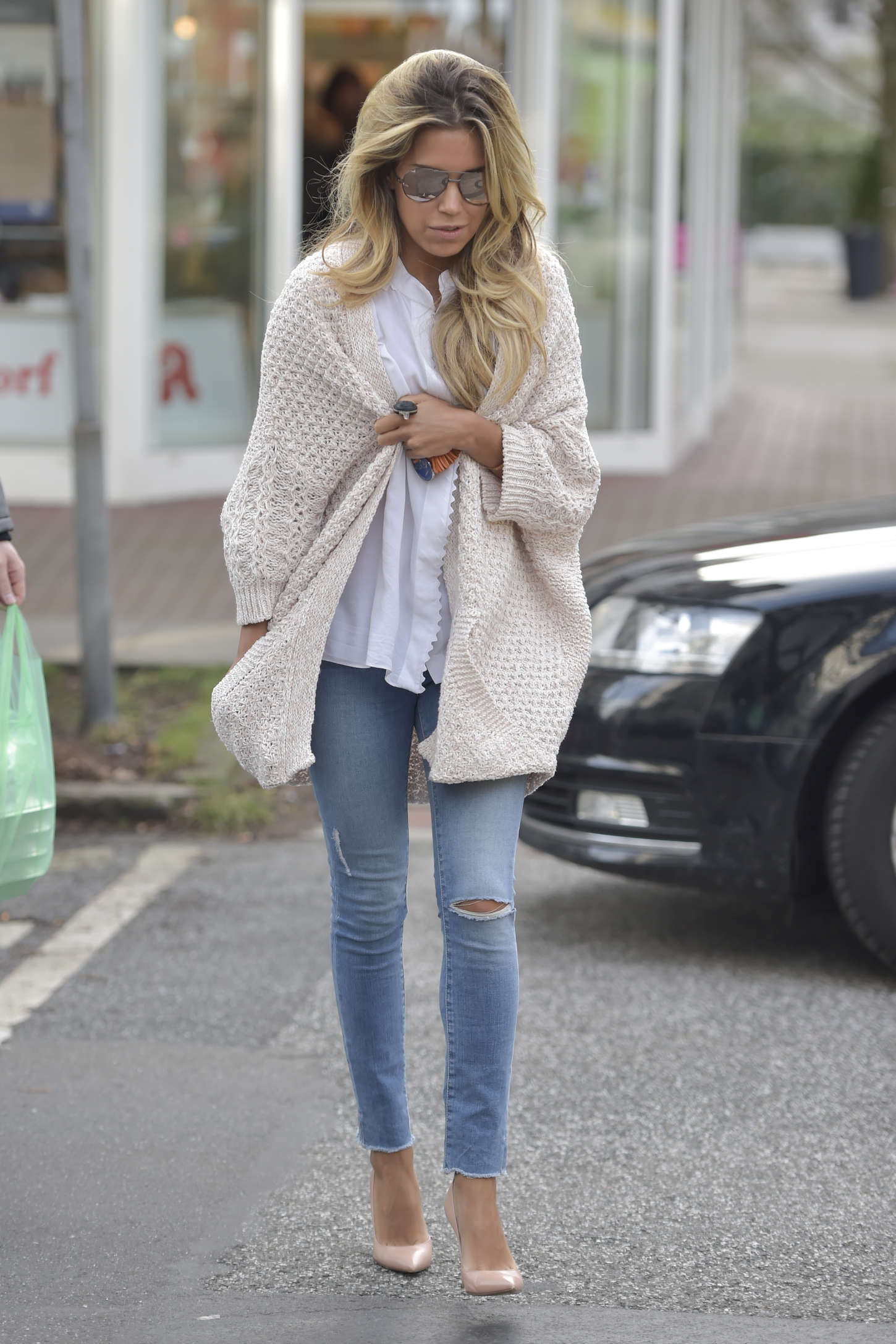Sylvie Meis in Tight Jeans out in Hamburg