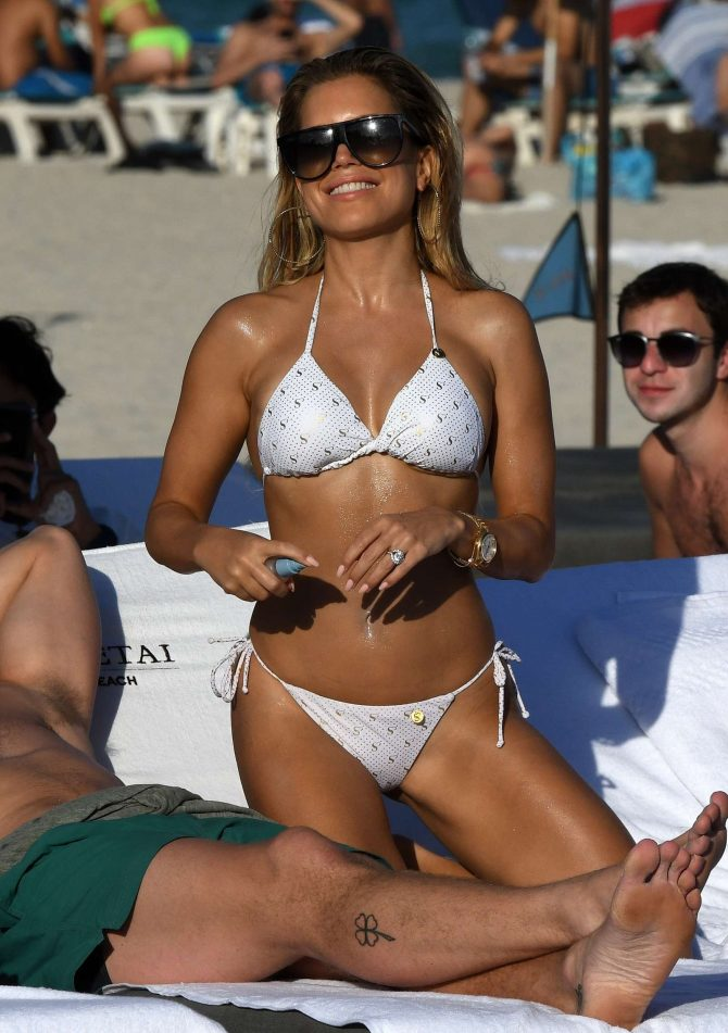 Sylvie Meis – Wearing white bikini on the beach in Miami