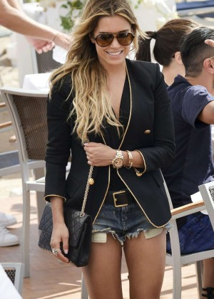 Sylvie van der Vaart in jeans shorts Out in Cannes