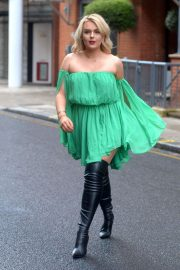 Tallia Storm in Green Dress - Out in Chelsea