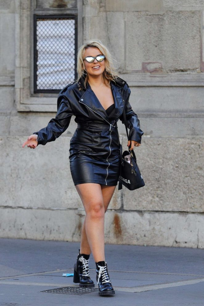 Tallia Storm in Leather Mini Dress - Out in Paris