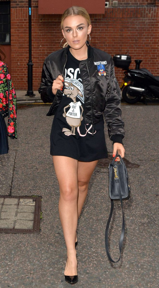 Tallia Storm in Mini Dress Out in London