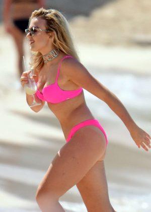 Tallia Storm in Pink Bikini on the beach in Barbados