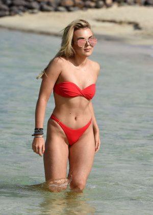 Tallia Storm in Red Bikini - Filming Celebs Go Dating in Cape Verde