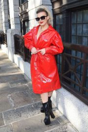 Tallia Storm in Red Coat - Out during London Fashion Week