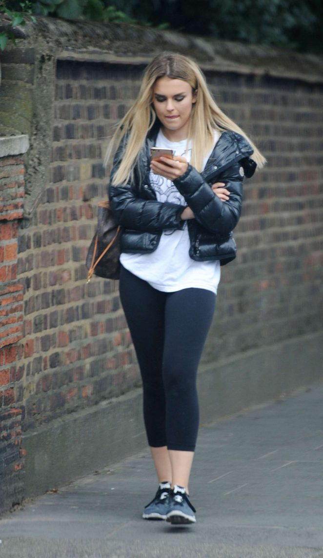 Tallia Storm in Tights out in London