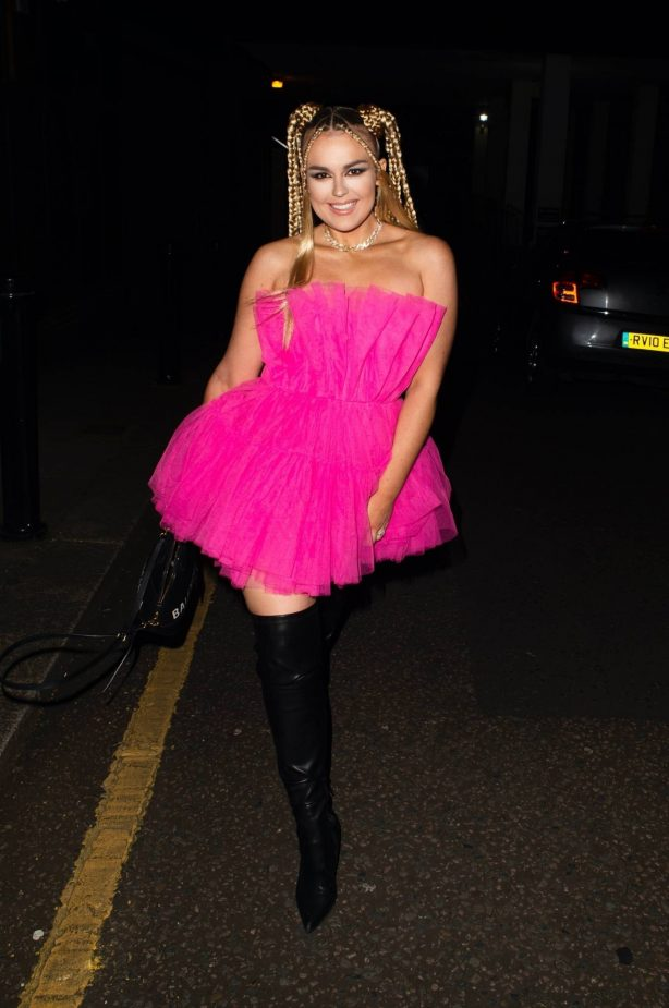 Tallia Storm - Night out in pink dress and thigh-high boots in London
